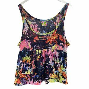 Free People Colorful Baby Doll Tissue Tank Top M